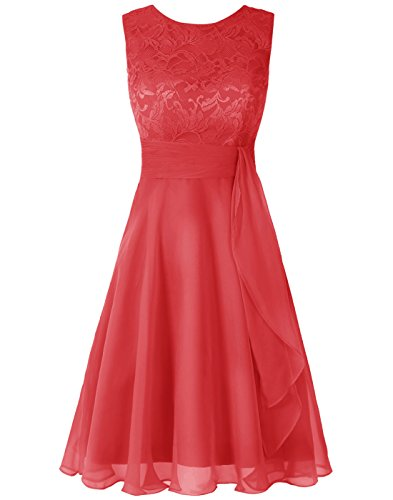 Wedtrend Women's Short Chiffon Bridesmaid Dress Lace Dress WT12088Red 2]()