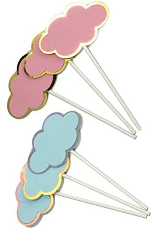 UPKOCH Gut 6 stücke Cake Topper Kuchen Dekoration Kucheneinsätze Kuchen Picks Wolke Form für Party Decor (3 stücke Rosa Kuchen Topper + 3 stücke Blau Kuchen Topper)