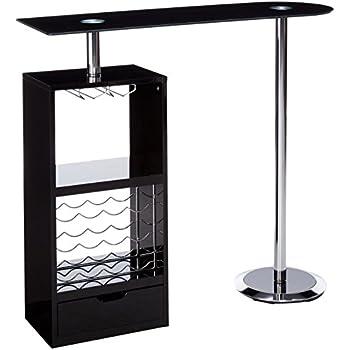 Amazon.com: Coaster Contemporary Glossy Black Bar Unit ...