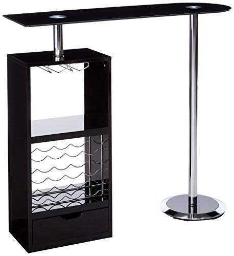 Coaster Contemporary Glossy Black Bar Unit with Sturdy Tempered Frosted Glass Top