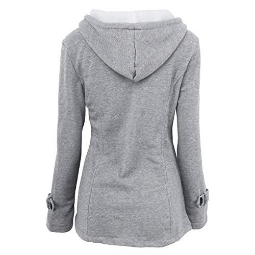 abrigo tamaño invierno ZFFde hebilla de Abrigo cuerno Light 2XL Color capucha con de de y Invierno grey qxtwRZ