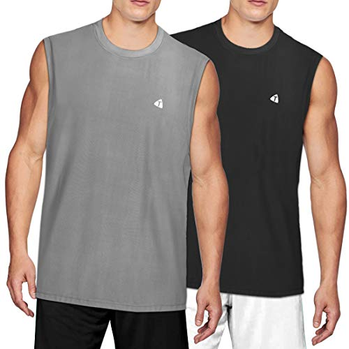 acetek Men's Sleeveless Shirts 2 Pack,Sport Fitness Muscle Workout Tank Tops Pack of 2 (Grey Black, XL) ()