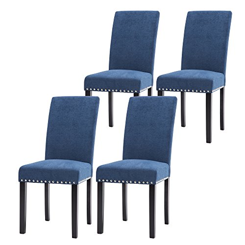 LSSPAID Dining Chair Set of 4 Fabric Padded Side Chair with Solid Wood Legs, Nailed Trim(Blue) (And Blue Table Dining Chairs)