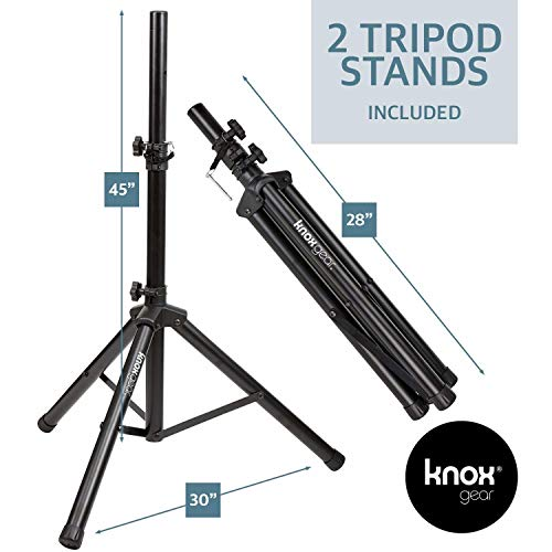 Knox Dual 15'' Speakers, 600 Watt - 8 Piece Portable PA System - Microphone, Tripods, Remote Control - Bluetooth, USB, SD Card, RCA and 1/4'' Inputs - Colorful LED Lights by Knox Gear (Image #6)