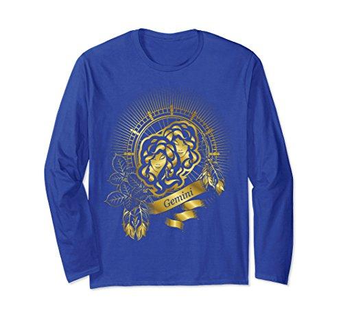 Horoscope Gemini Zodiac Sign (Unisex Long Sleeve Tee - Zodiac Sign Gemini Horoscope T Shirt XL: Royal Blue)