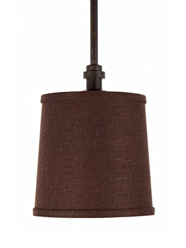 Upgradelights Mocha 7 Inch Retro Drum Pendant Lampshade to Refit Glass Pendant Light