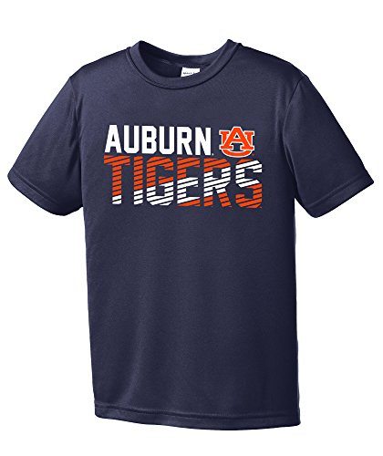 NCAA Auburn Tigers Youth Boys Diagonal Short sleeve Polyester Competitor T-Shirt, Youth Large,Navy