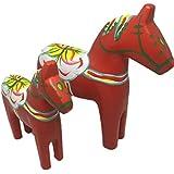 幸運 木馬 ダーラナホース 北欧 雑貨 伝統 工芸 大小 2個 セット 風水 馬 置物 インテリア オブジェ (赤)