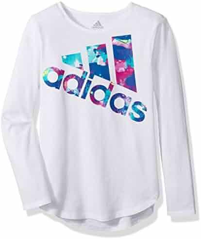 adidas Girls' Long Sleeve Logo Tee