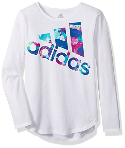 - adidas Girls' Toddler Long Sleeve Logo Tee, White Multi, 3T