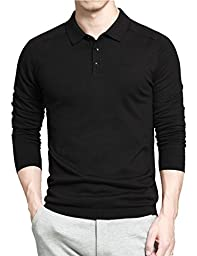 Gameyly Men\'s Long Sleeves Pullover Sweater-Knit Polo L Black