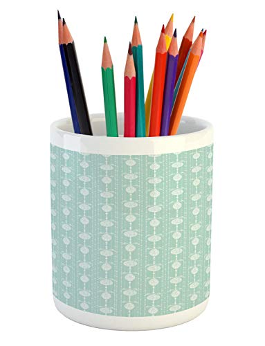 Lunarable Christmas Pencil Pen Holder, Pastel Monochrome New Year Xmas Ornaments Silhouette Pattern Print, Printed Ceramic Pencil Pen Holder for Desk Office Accessory, Pale Seafoam and White
