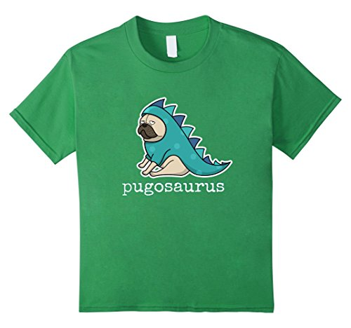 Kids Pugosaurus t-Shirt Cute Pug in Dinosaur Costume = Pugosaur 6 Grass (Cute Pugs In Costumes)