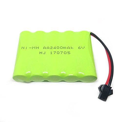 Gecoty 6V 2400mAh Ni-MH Rechargeable AA Battery Pack SM 2P Plug for Remote Control Toys, Lighting, Security Facilities, Electric Tools, etc