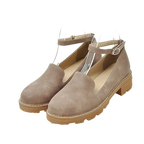AllhqFashion Womens Round-Toe Low-Heels Soft Material Solid Buckle Pumps-Shoes Apricot EJiETqU