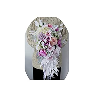 Seller-Wu Waterfall Elegant Wedding Bouquet Artificial Carla Lily Bride Bridal Bouquet Bride's Wedding Bouquet,Style 1 10