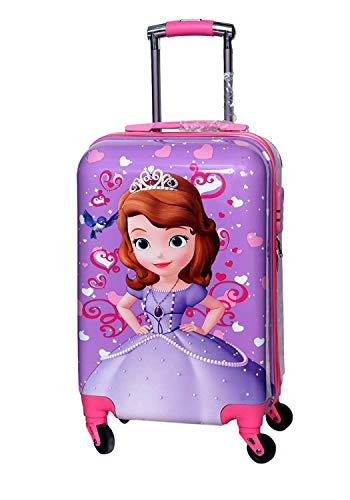 D's PARADISE Pink Polycarbonate Disney Print 20 Inches Princess Sofia Barbie Trolley Bag for Girls