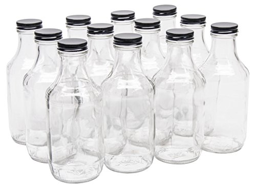 - North Mountain Supply 16 Ounce Glass Sauce Bottle - With 38mm Black Metal Lids - Case of 12