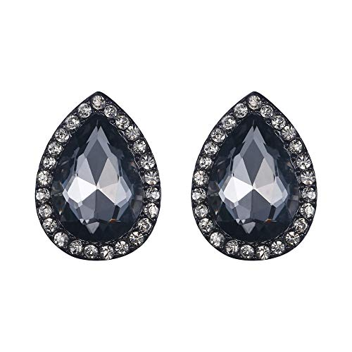 EVER FAITH Women's Austrian Crystal Wedding Teardrop Pierced Stud Earrings Grey Black-Tone