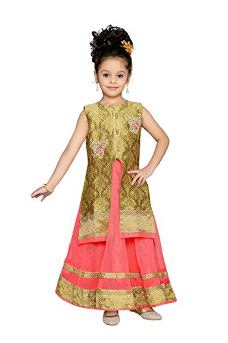 Aarika Girl's Nanhi Pari Gown with Embellished Jacket and Detachable Sleeves (G-2034-GAJRI_26_6-7 Years) by Aarika