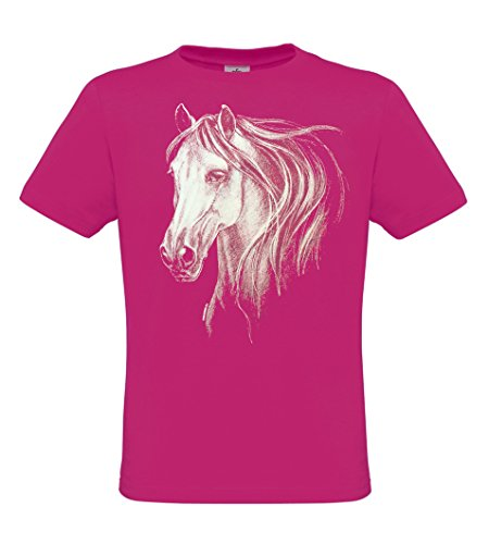 Ethno Designs Animals - White Horse Head - Girls & Womens Horse T-Shirt - regular fit, fuchsia, size 152/164 by Ethno Designs