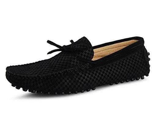 Zapatos 38 Mocasines Smart Suede Black On Slip Lattice Rhombus Driving a Talla Blue Hombres Casual 44 black dH0BOd