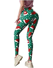 Womens Leggings Christmas Custom Yoga Pants Butt Lifter Athletic Running Slim Sweatpants High Waist Sleepwear