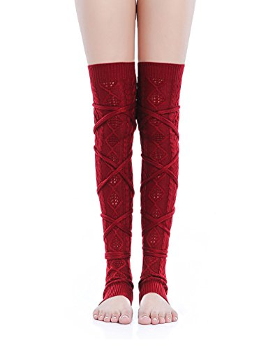 Kimberly's Knit Women Thigh High Tie Cable Knit Crochet Long Boot Leg Warmers (L-XL, wine) (Petite Cable Knit)