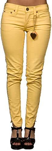 Dittos Women's Suzie Ankle Zip Skinny Color Jeans in Sunshine Yellow