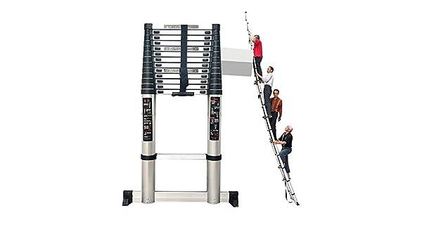 WGOOGA Escalera Alta telescópica portátil 4.6M-7M con Barra estabilizadora Pasos de extensión de Aluminio de Alta Resistencia for Climb Home Loft, Carga 150 kg (Size : 6.6m/21.6ft): Amazon.es: Hogar