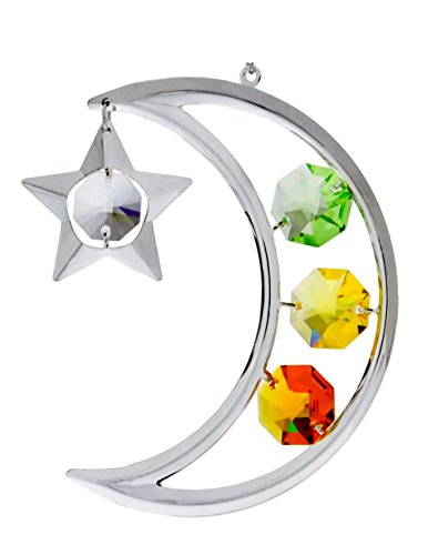 Crescent Moon and Star Silver Plated Hanging Ornament with Multi Colored Spectra Crystals by Swarovski