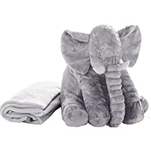 Stuffed Elephant Animal Fluffy Large Stuffed Elephant Plush Toy With Blanket Inside Softness Giant Gifts For Children Kids 24 Inches 1.2 Kg, Grey