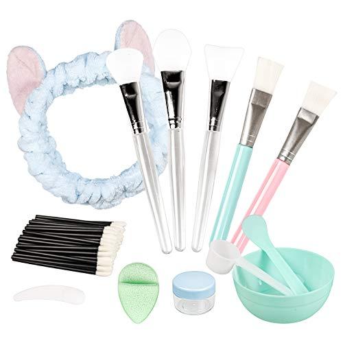 3+2 Stück Silikon Maskenpinsel und Bürste, Maskenpinsel Set mit Haarbänder und Maskenschüssel, Gesichtsmaske Pinsel Set Kosmetik Make-up Pinsel Beauty Produkte für DIY Maske oder Reinigungsmaske