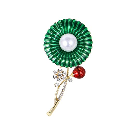 Pearl Flower Green Enamel Brooches for Women and Men Party Weddings Banquet Fashion Brooch Pins Gifts Jewelry