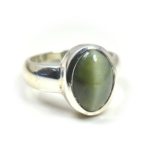 Cat Eye Gemstone Ring (Jewelryonclick 4 Carat Natural Cats Eye Gemstone Men Women 925 Silver Ring Size US 5,6,7,8,9,10,11,12,13)