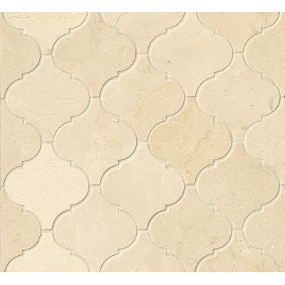 Crema Marfil Mosaic - Polished Marble Arabesque Mosaic Tile in Crema Marfil
