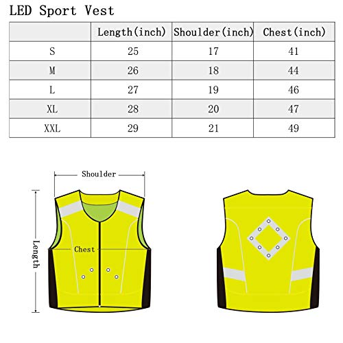 WildSaver Triple Vis LED Vest with Lights Reflective Strips USB  Rechargeable High Visibility with Pockets for f59b48f6f