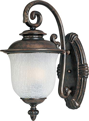 Maxim 3095FCCH Cambria Cast 3-Light Outdoor Wall Lantern, Chocolate Finish, Frost Crackle Glass, CA Incandescent Incandescent Bulb , 40W Max., Dry Safety Rating, Standard Dimmable, Fabric Shade Material, Rated -