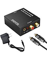 Easycel Audio Digital to Analog Converter DAC with 3.5mm Jack, Optical SPDIF Toslink Coaxial to Analog Stereo L/ R Converter Adapter with Optical Cable and Power Adapter for PS3 PS4 XBox DVD Roku