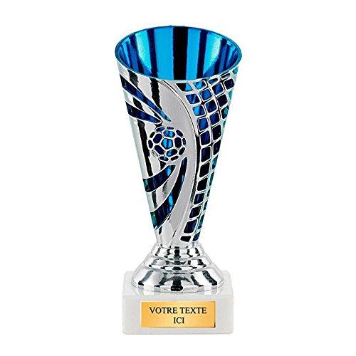 TROPHEE PLASTIQUE FOOT ARGENT/BLEU - Lot de 12 exemplaires Trophée Sportif