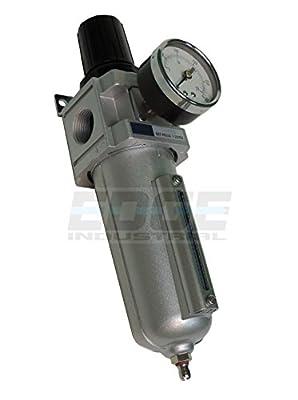 "Heavy Duty Compressed Air Filter Regulator Combo Piggyback, Metal Bowl, 3/4"" Npt Ports, 140 Cfm, Visible Sight Glass, 5 Micron Element"