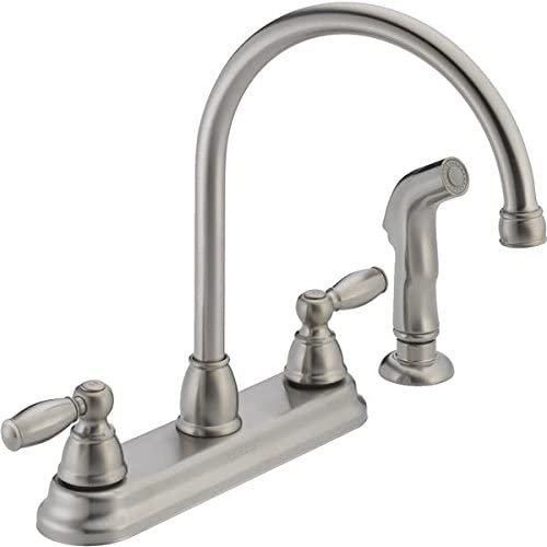 Peerless Kitchen Faucet Low Lead Two Handle H Arc Spout Designer Series 8 Centers Stainless Steel