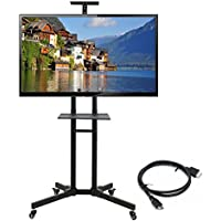 Mobile TV Stand or Universal Mobile TV Cart with MountHeight Adjustable shelf for 32 to 65 inch Flat Panel Screens - Black