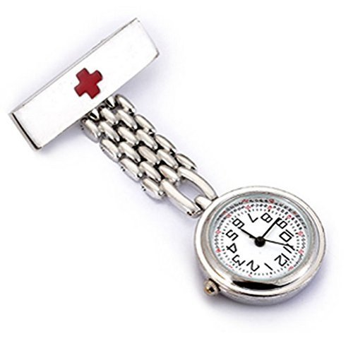 WZC Silver Quartz Stainless Steel Red Cross Nurses Lapel Pin Watch with Luminous Hands WZC logo Pendant