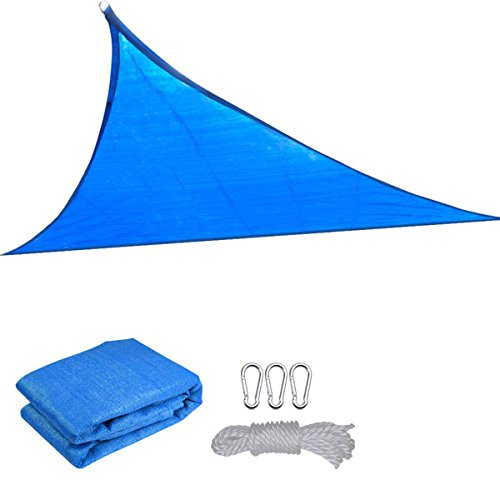 11.5' Ft Triangle Outdoor Sun Shade Sail Canopy Blue PE Material UV Protection Portable for Park Beach Patio Swimming Pool Spa Shading Sunscreen Top Overhead Cover