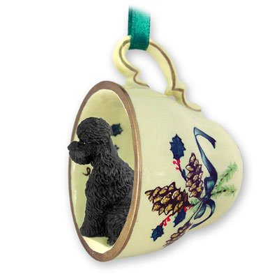 Poodle Sportcut Green Holiday Tea Cup Dog Ornament - Black -