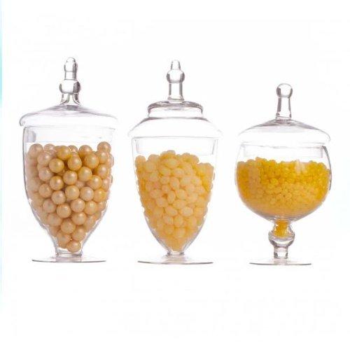 Dress My Cupcake Candy Buffet Apothecary Jars, Set of 3 (Apothecary Favors Jar)