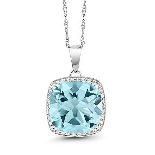 Gem Stone King 8.54 Ct Cushion Sky Blue Topaz White Diamond 10K White Gold Pendant
