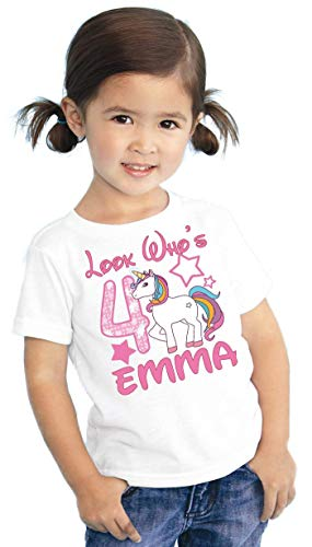 (Look Whos Girls Kids Youth My Little Unicorn Pony Personalized Birthday T Shirt Tee Custom Name Age Cute Magic Gift)