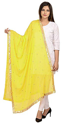 (TMS Woman's Embroidered Chiffon Dupatta Scarf Shawl Wrap Soft Indian Bridal Wedding (Bright Yellow))
